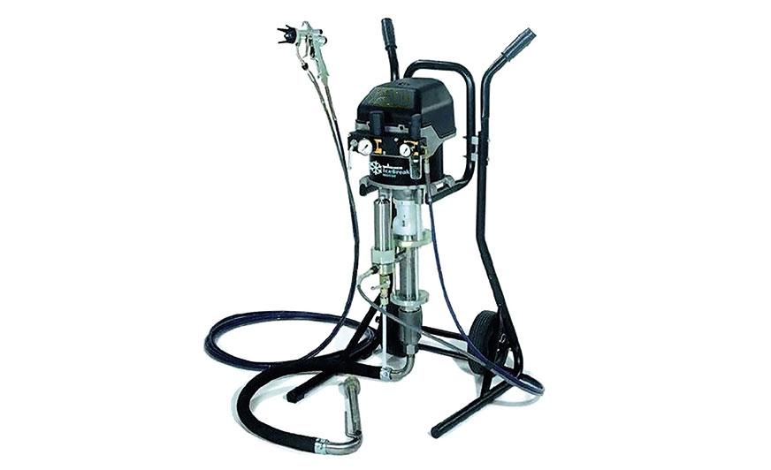 Pompa hydrodynamiczna przystosowana do natrysku z osłoną powietrza: 1 - układ regulacji silnika powietrznego (ciśnienia farby); 2 – układ regulacji ciśnienia powietrza osłonowego; 3 – przewód z farbą; 4 – przewód z powietrzem.