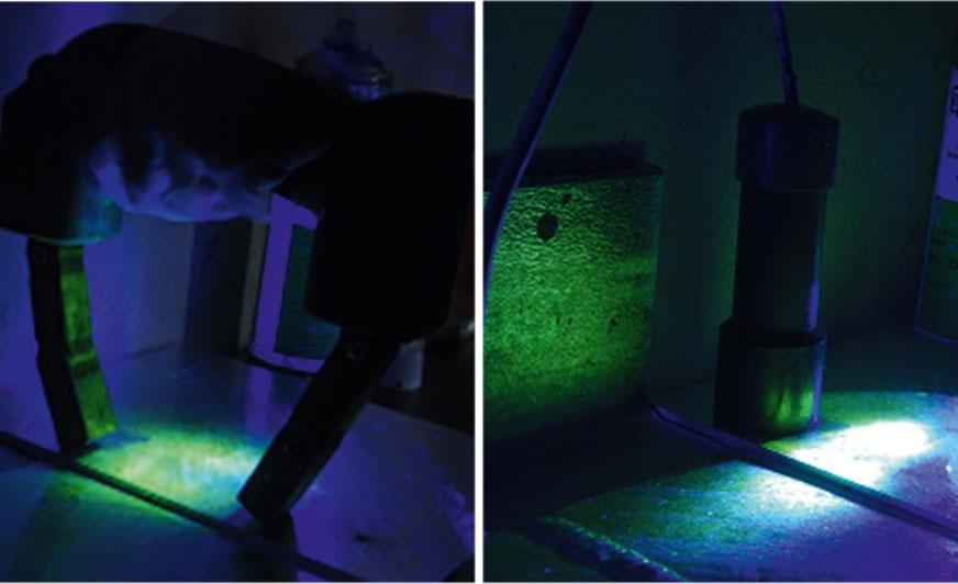 Magnesowanie defektoskopem jarzmowym. / Defektoskop stałomagnesowy.