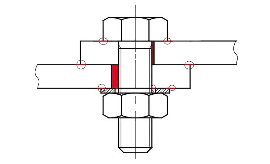 Rys. Miejsca najbardziej podatne na korozję w połączeniu skręcanym.