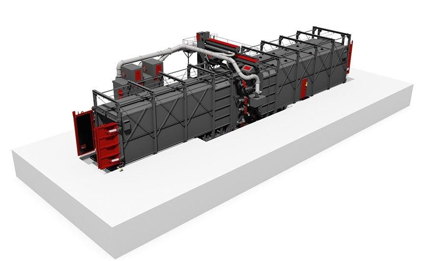 Śrutownica wieszakowa do pracy ciągłej, z komorami wejściową, roboczą i wyjściową, wyposażona jest w 16 turbin rozmieszczonych z przesunięciem w dwóch pionowych rzędach. Dzięki temu pokrycie strumieniem śrutu jest pełne, na wszystkich powierzchniach przed