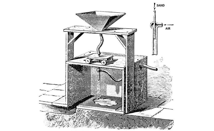 Rys. 1. Urządzenie do piaskowania Tilghmana. [1]