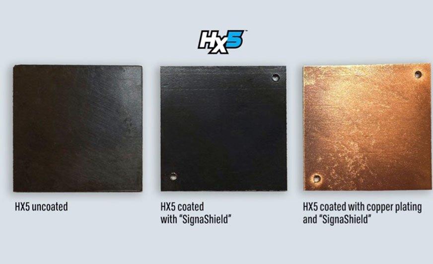 Kompozyt HX5 w połączeniu z lakierem SignaShield wykazuje takie same właściwości antybakteryjne, jak po pokryciu go dodatkową warstwą miedzi.