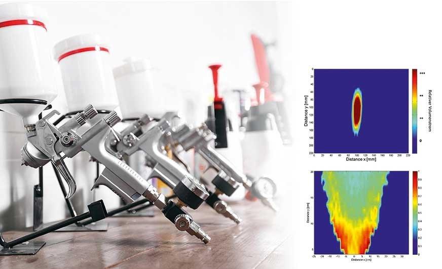 Przykład cyfrowego kształtu natrysku: objętościowe natężenie przepływu jest przedstawione w poprzek strumienia w przekroju (na górze). Rozkład prędkości kropli w natrysku jest przedstawiony w kierunku wzdłużnym do strumienia (na dole).