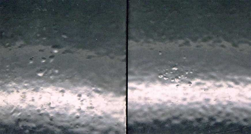 Próbki z pęcherzykami po testach zgodnie z ISO 6270-1 (po lewej) i ISO 6270-2 (po prawej): wszystkie badane próbki wykazały podobne wyniki.