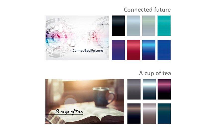 """Paleta kolorów lakierów Kansai Paint została pogrupowana w dwie kategorie: wyrażającą społeczne zaangażowanie """"Connected future"""" oraz indywidualistyczną """"A cup of tea""""."""