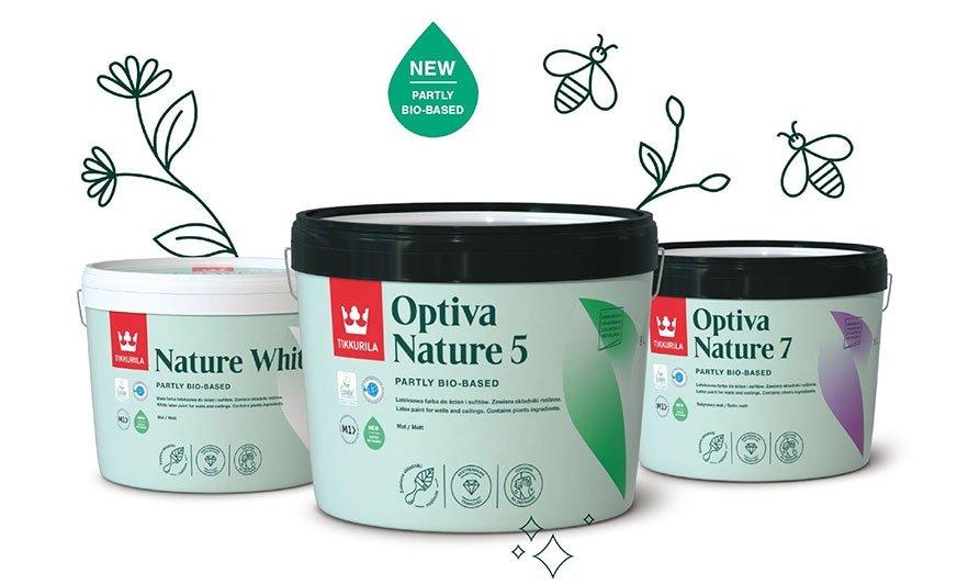 Nowa linia farb wewnętrznych Tikkurila Nature powstała na bazie naturalnych składników i jest sprzedawana w ekologicznych opakowaniach na bazie PCR.