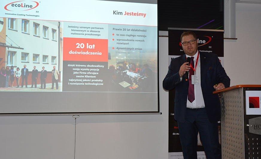 Pierwsze Forum Nowoczesnych Technologii Malowania odbyło się w 2018 roku. Na zdjęciu Piotr Potocki, prezes firmy Ecoline.