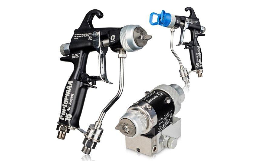 Ręczne i automatyczne pistolety natryskowe Graco PerformAA ze wspomaganiem powietrznym (AA) zapewniają wydajność na najwyższym poziomie dzięki głowicom powietrznym dostosowanym do materiału i innym unikalnym funkcjom.